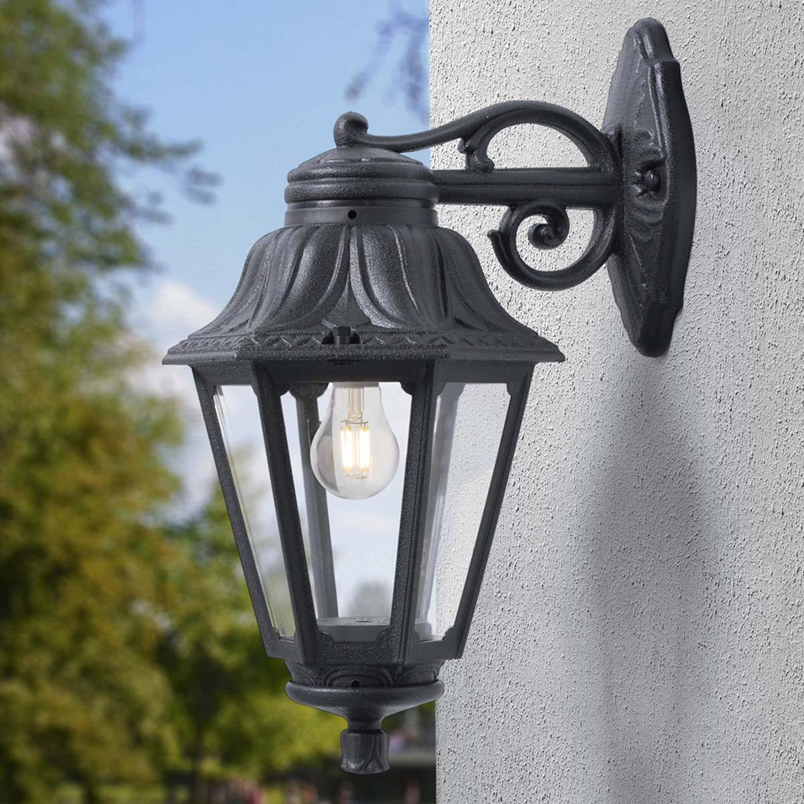 Bisso utendørs LED-vegglampe svart lykt nede