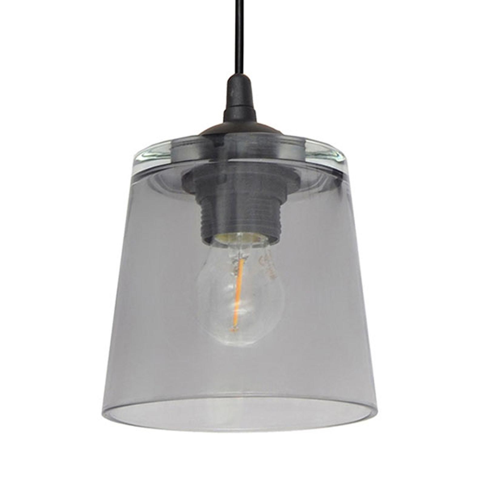 Hanglamp Lucea 1-lamp met glazen kap smoke