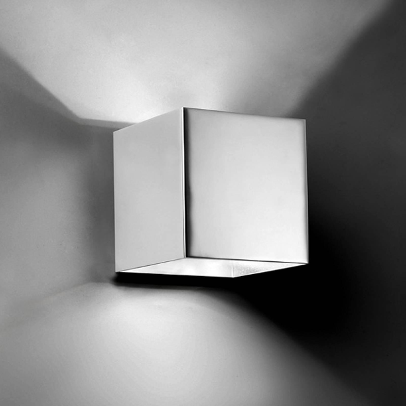 Vierkante LED-wandlamp Basic, chroom