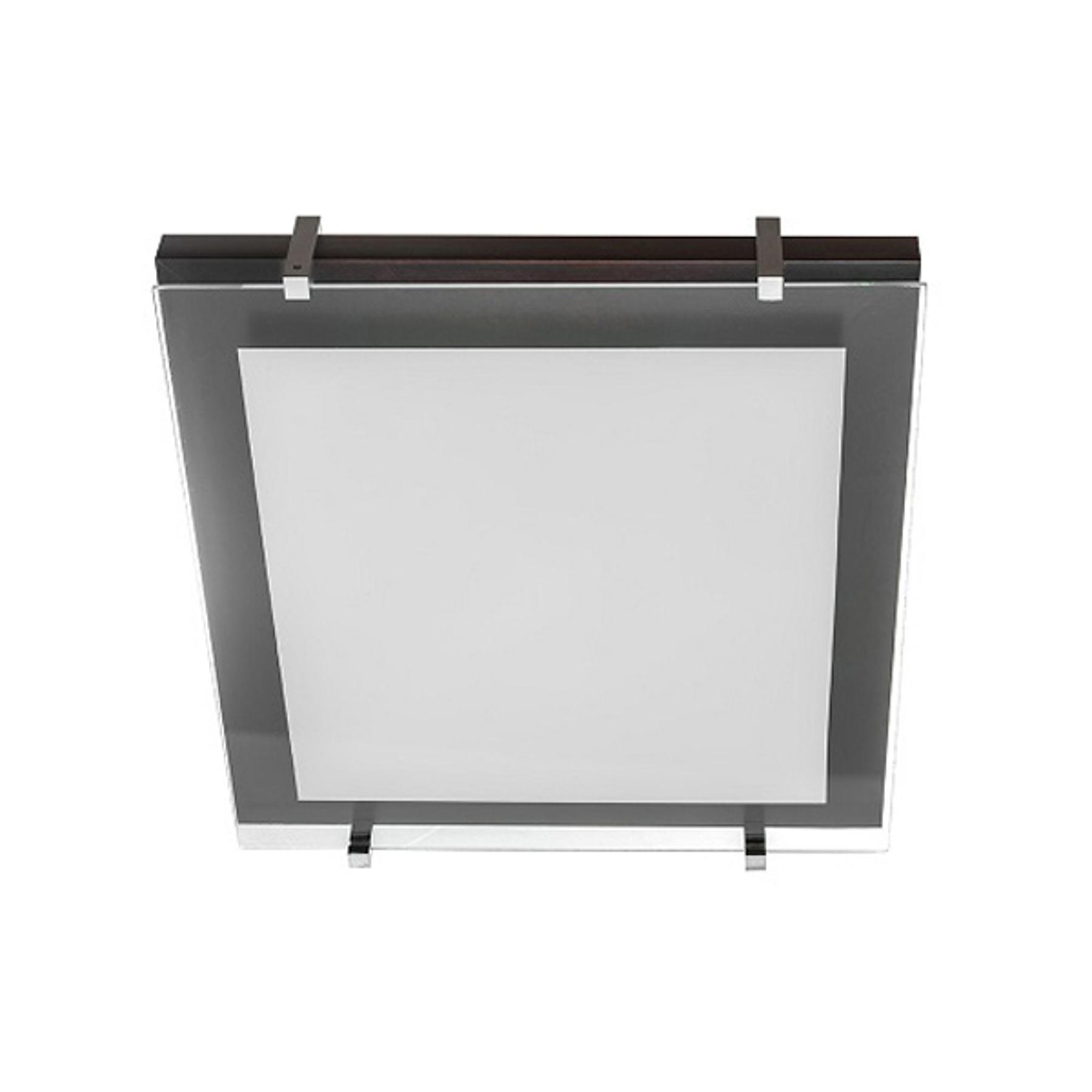 Deckenleuchte P1 aus Holz und Glas 30x30cm