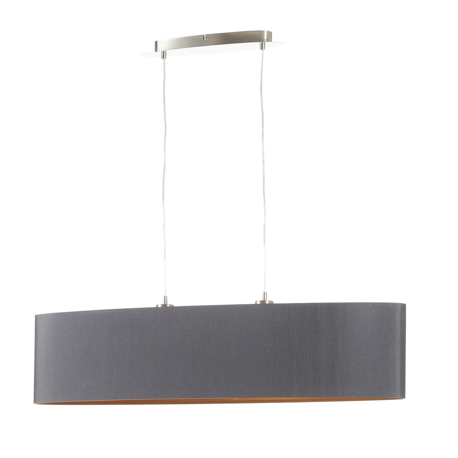 Elegante lampada sosp. di stoffa Lecio, oro-nero