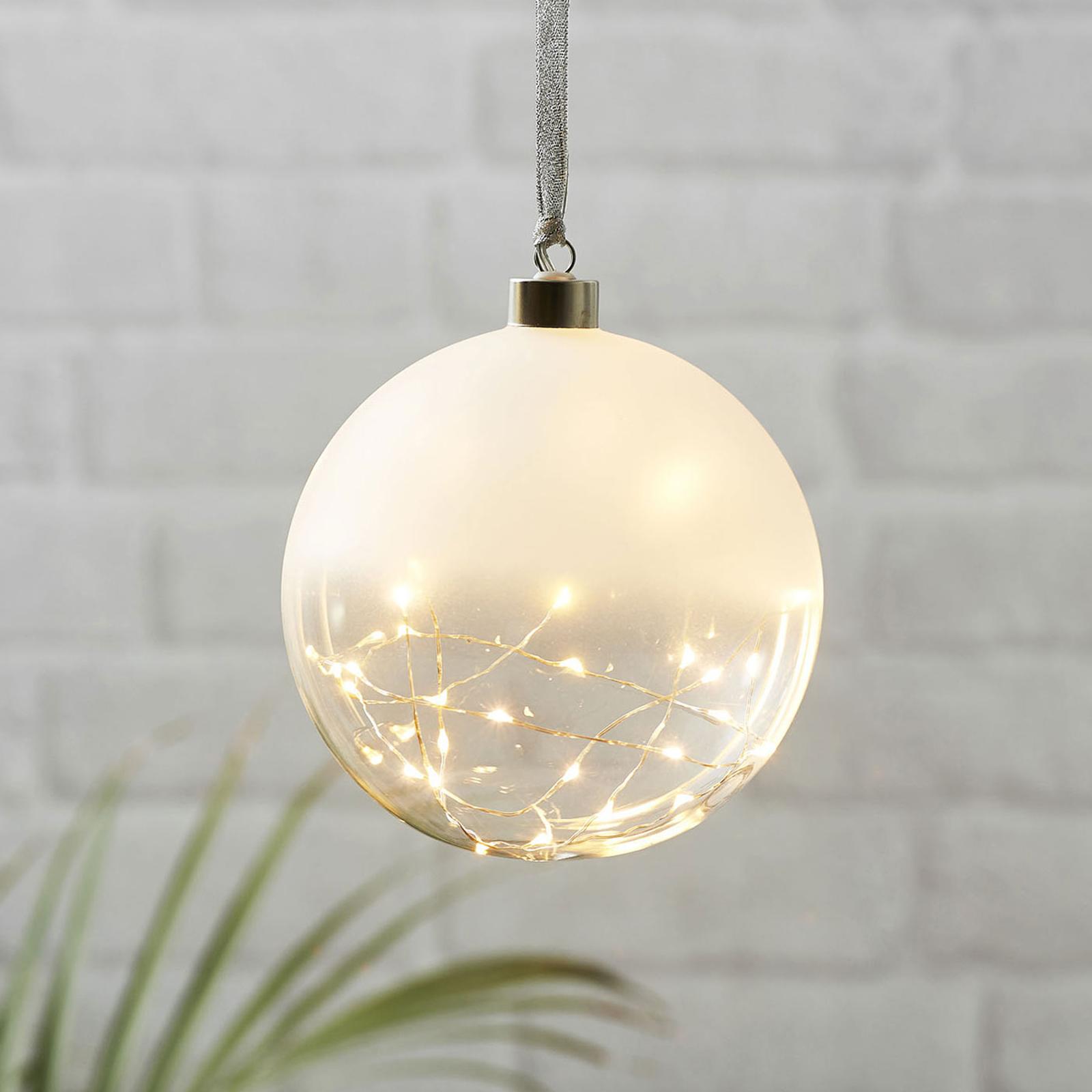 Glow LED-dekokugle, frostet/klar, Ø 15 cm
