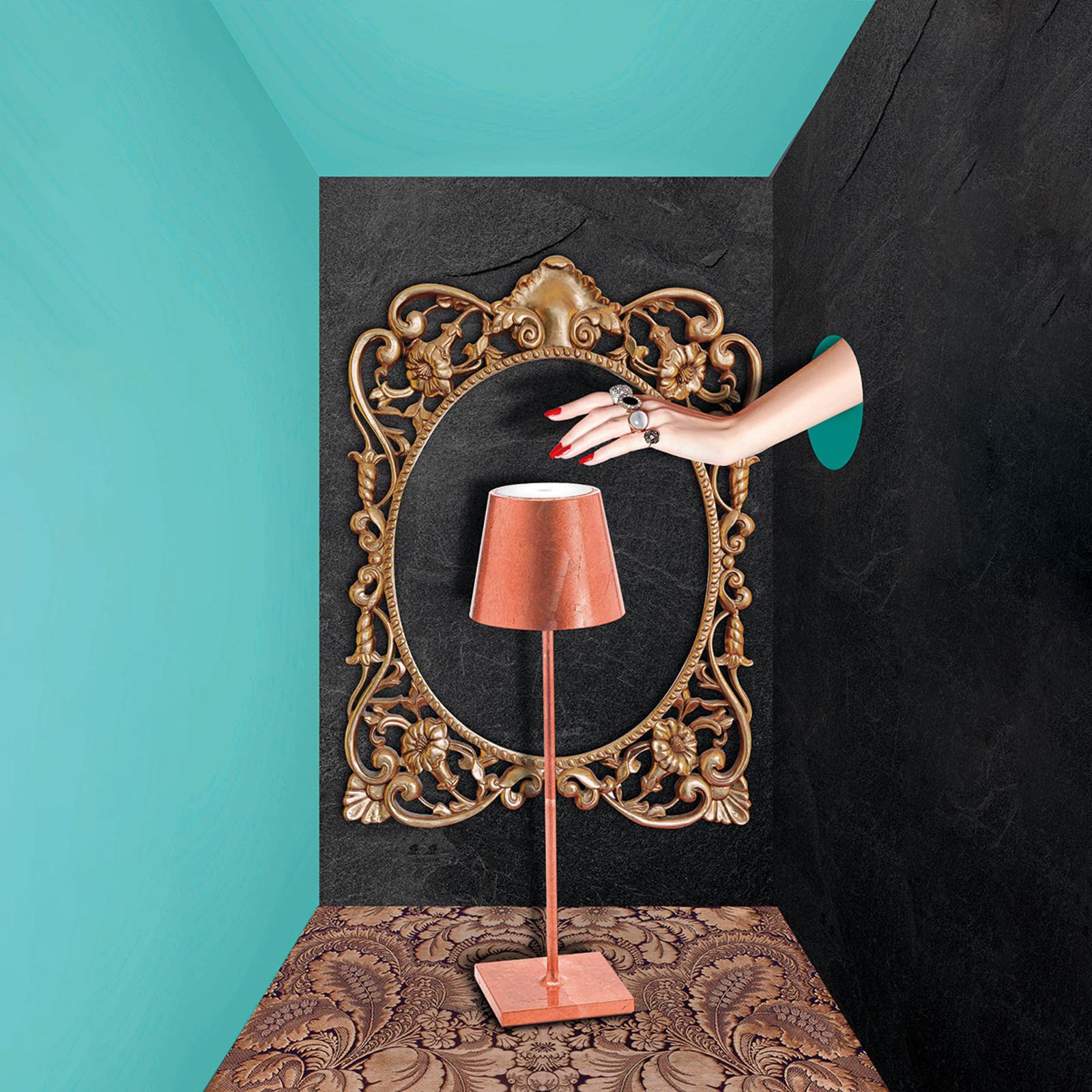 LED-Tischlampe Poldina mit Dekor, portabel, kupfer
