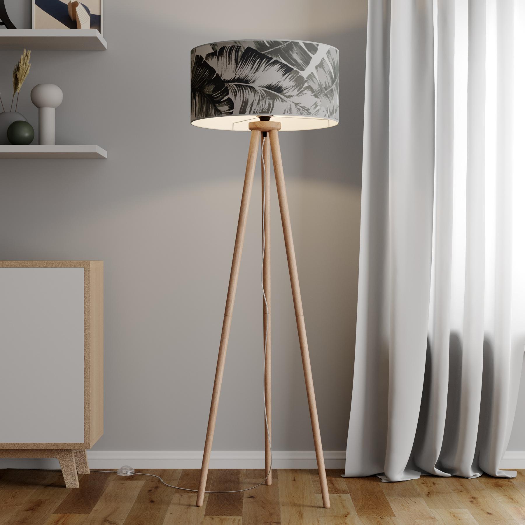 Stehleuchte Madera mit bedrucktem Lampenschirm