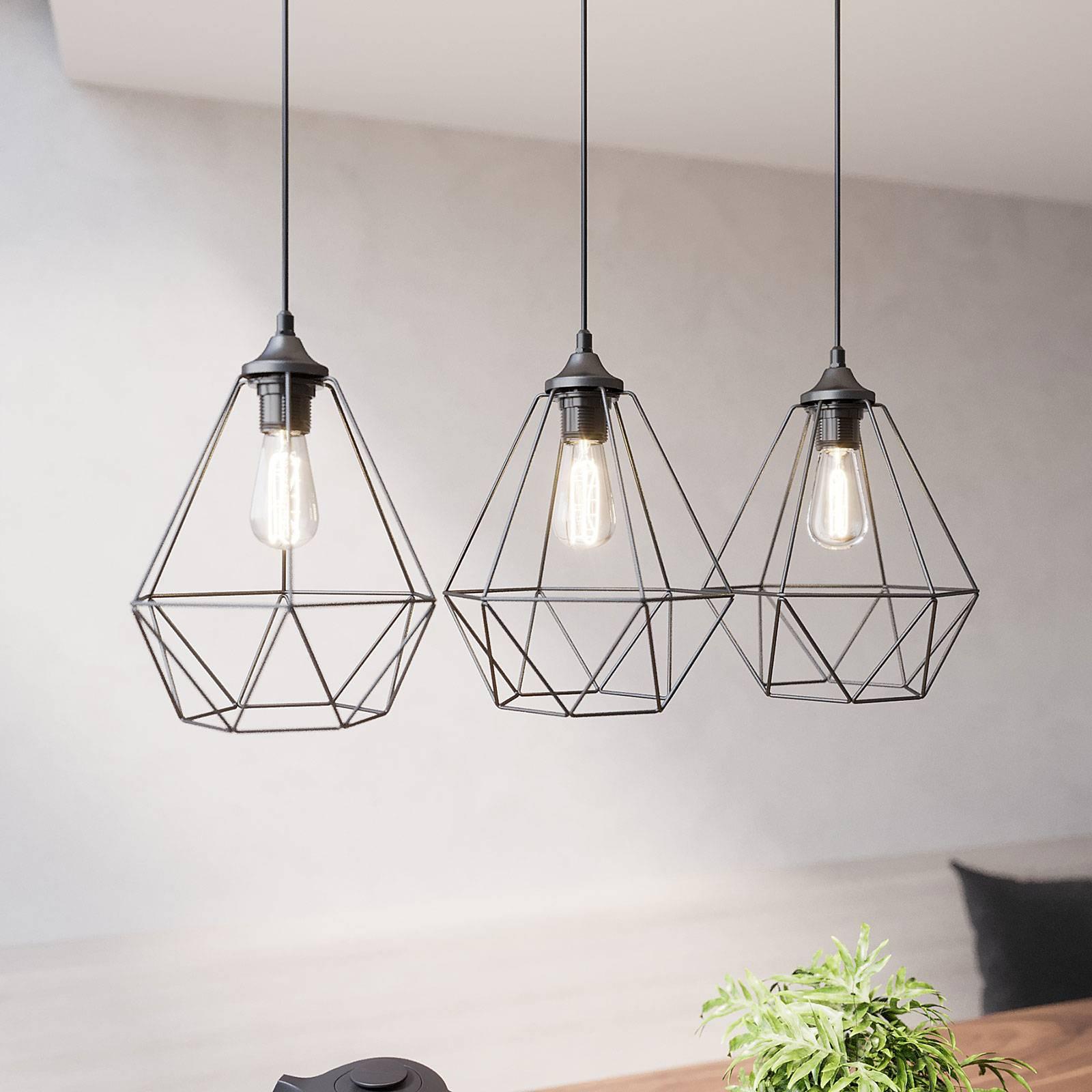 Suspension Karo à 3 lampes allongée noire