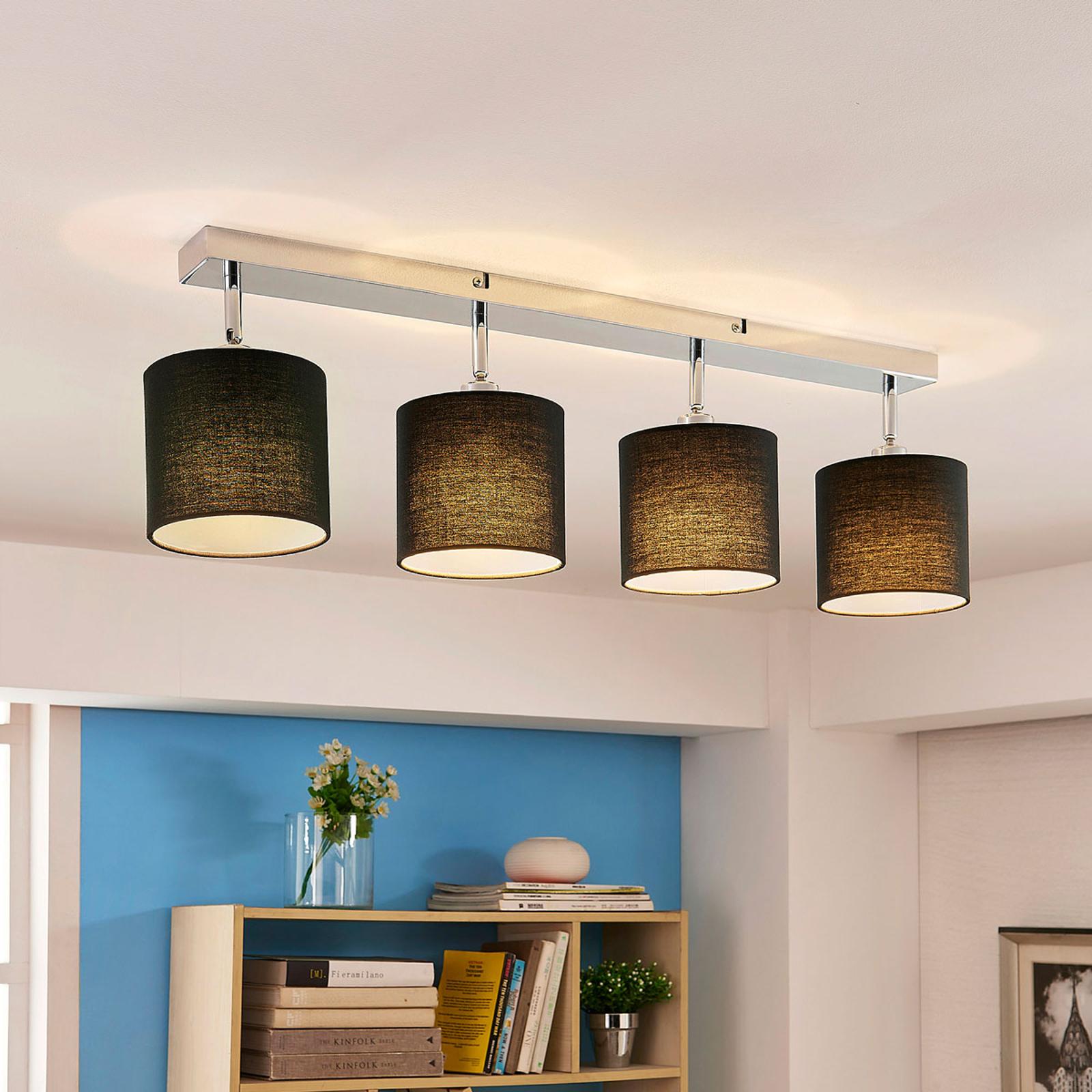 LED-Deckenlampe mit Stoffschirm, 4-flammig schwarz