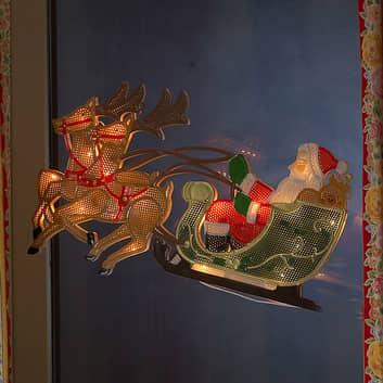 Reno con Papá Noel - figura LED para ventana