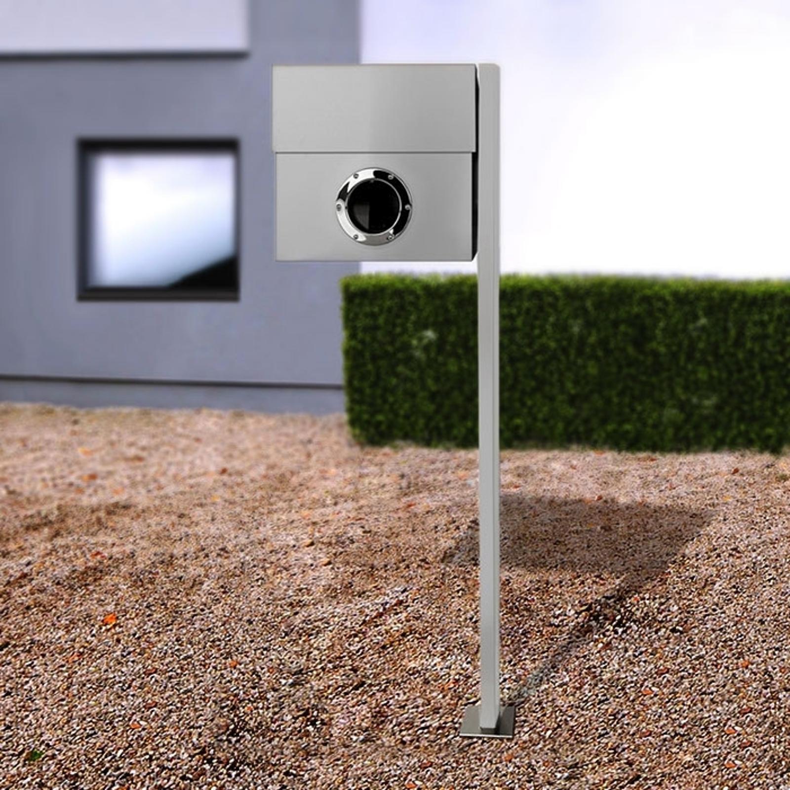 Perfekt postkasse Letterman XXL m. stolpe, sølv