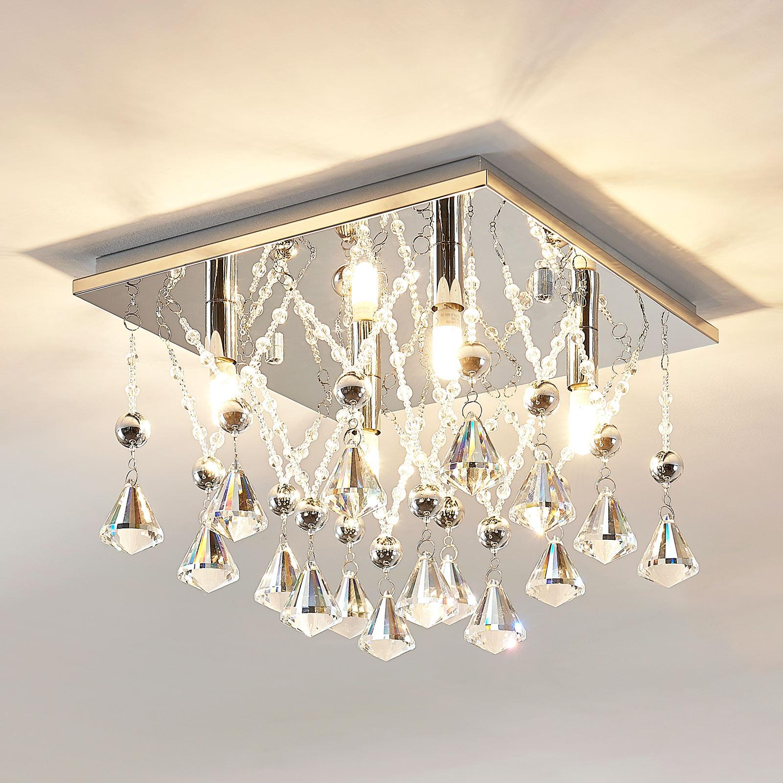 Iskrząca kryształowa lampa sufitowa LED Saori