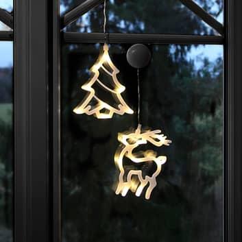 LED-dekorativa silhuetter av renar och träd, två