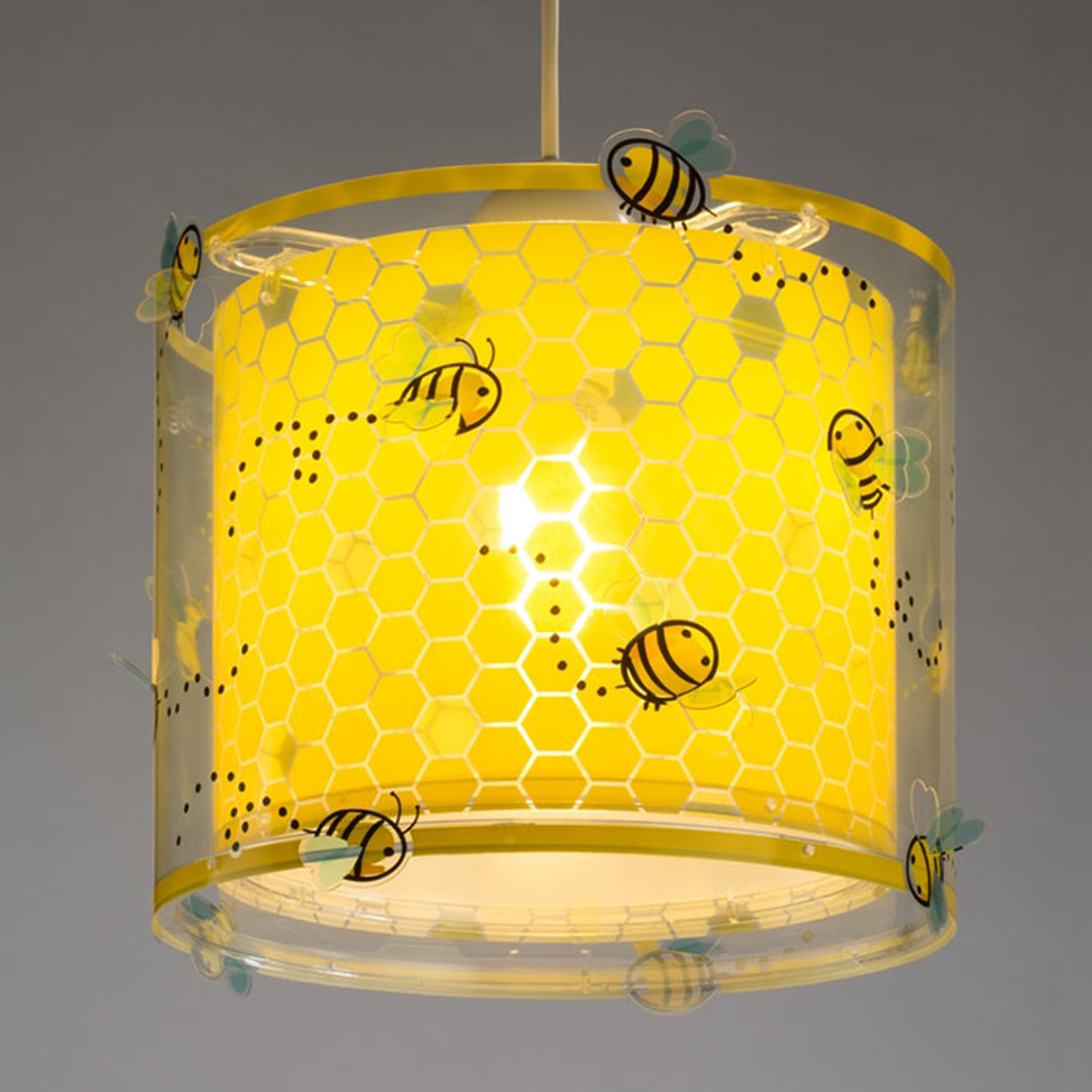 Gele kinderkamer hanglamp Bee happy