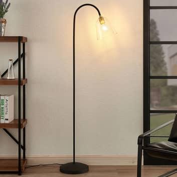 Lucande Anjita lámpara de pie, pantalla de vidrio