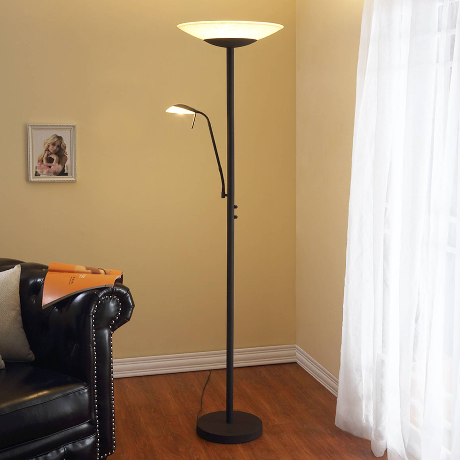 Lampadaire indirect LED Ragna liseuse, noir ancien