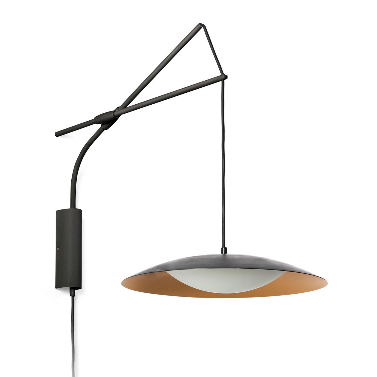 LED-Wandleuchte Slim mit Stecker, schwarz-gold
