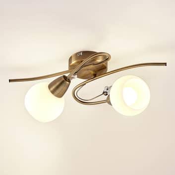 Lindby Floresca plafoniera, 2 luci, ottone