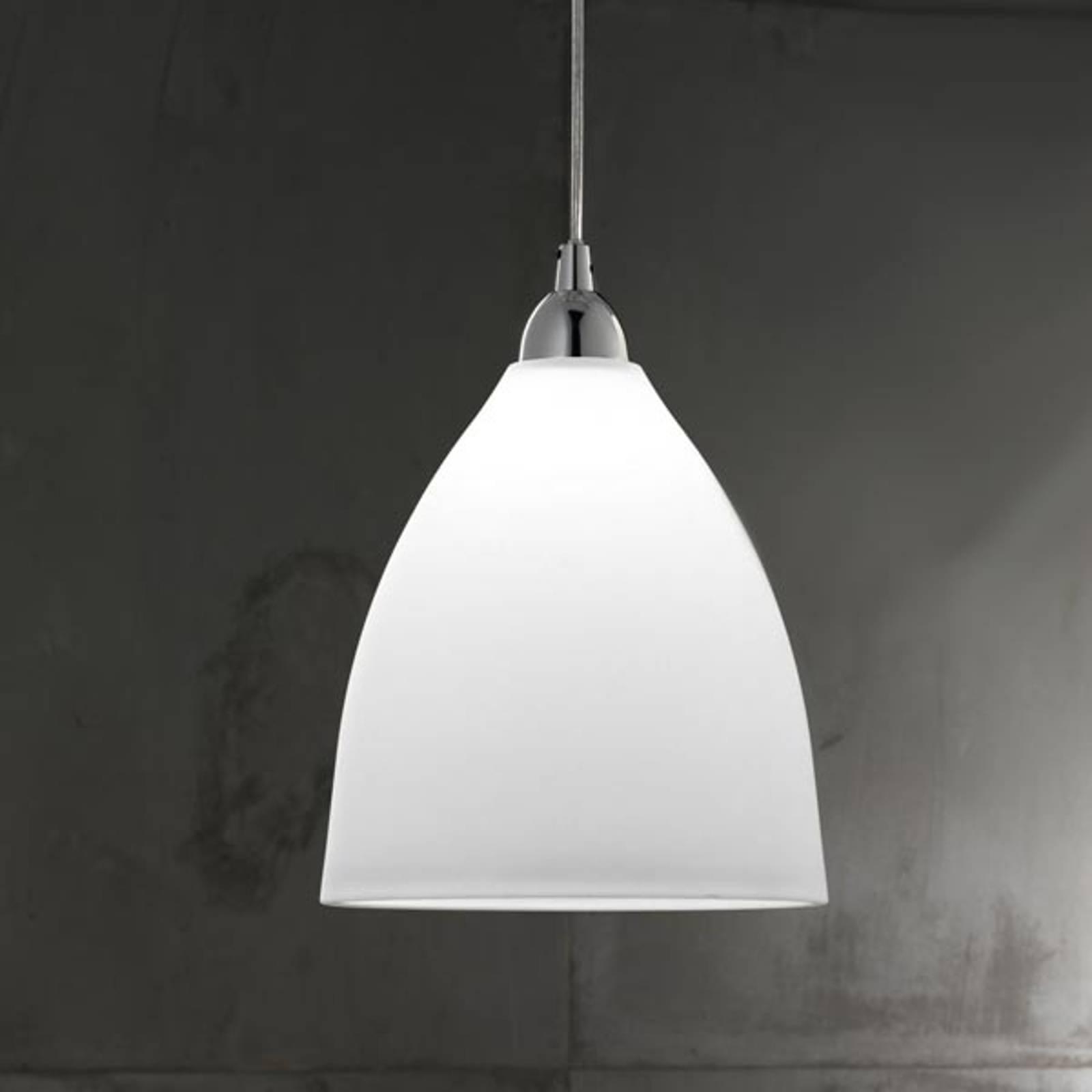 Szklana lampa wisząca PROVENZA, 27 cm, biała