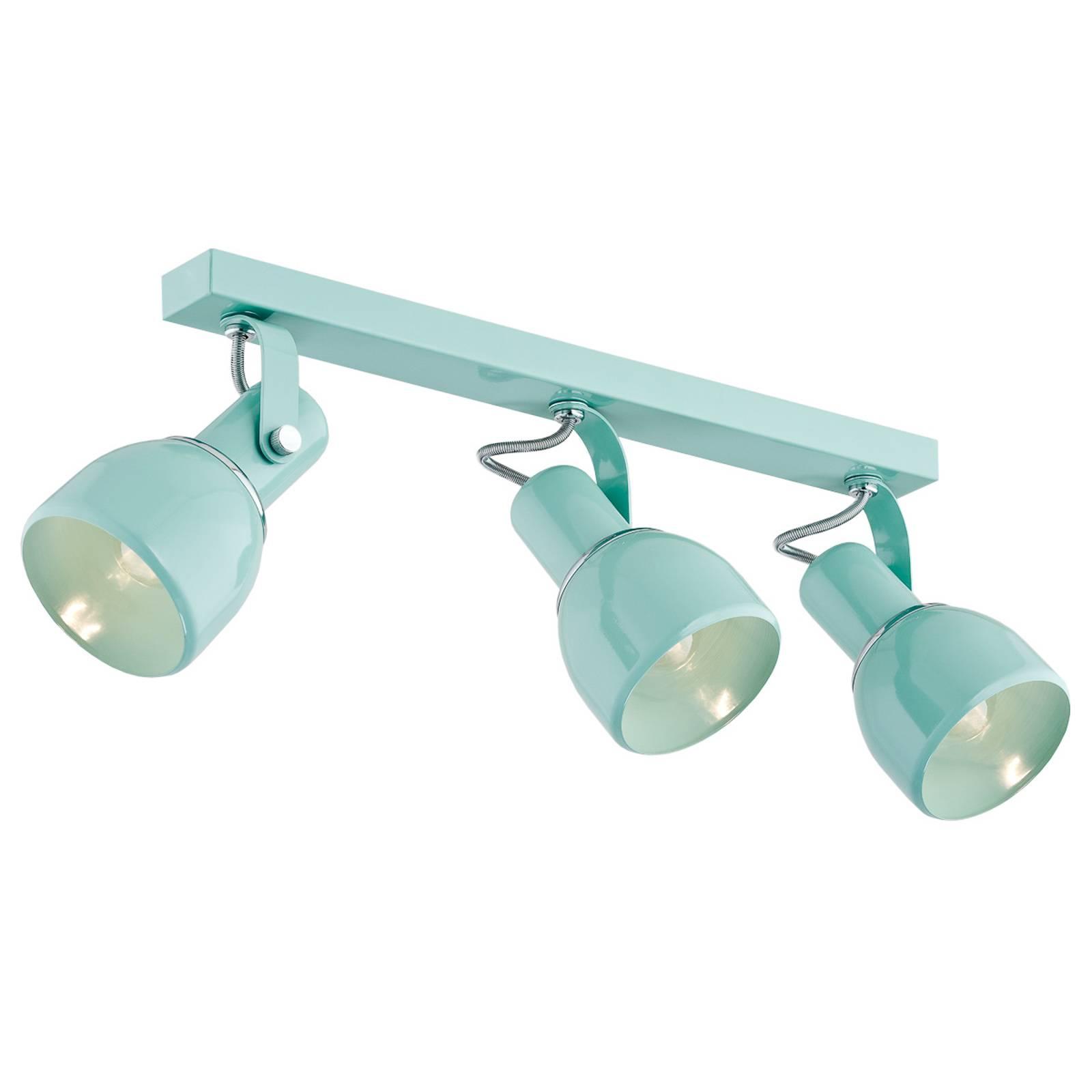 EULUNA Stropní reflektor Fiord, tři zdroje, mátově zelený