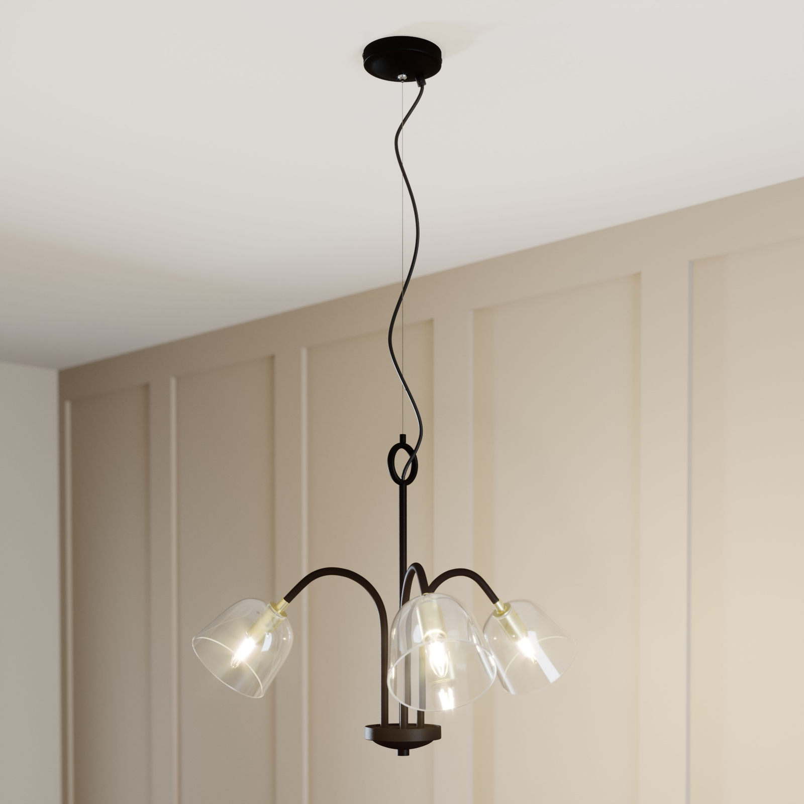 Lucande Anjita suspension, verre, 3 lampes