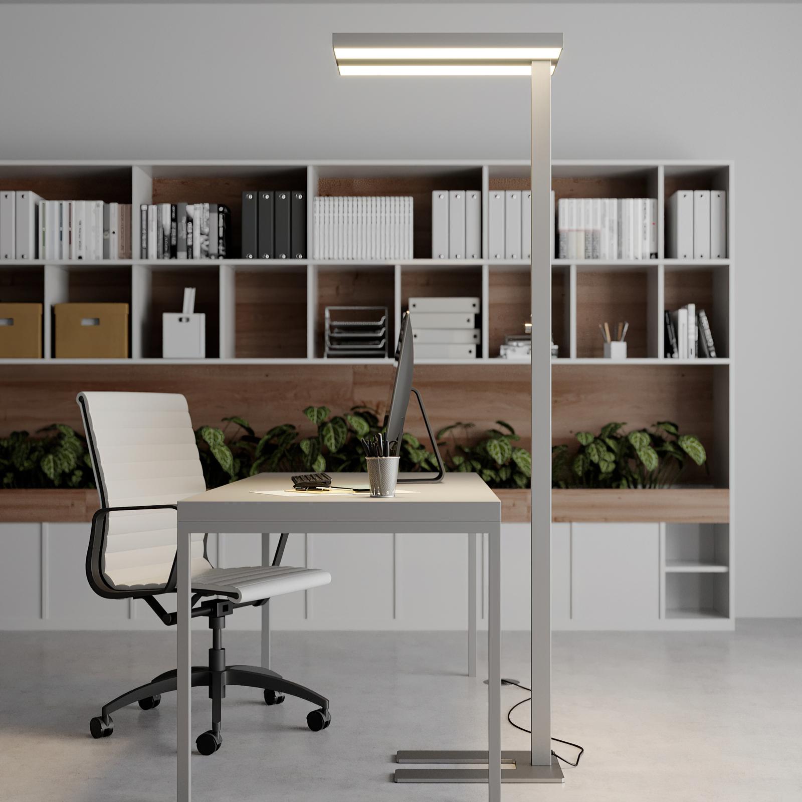 Dæmpbar LED-kontorgulvlampe Logan, 4.000 K