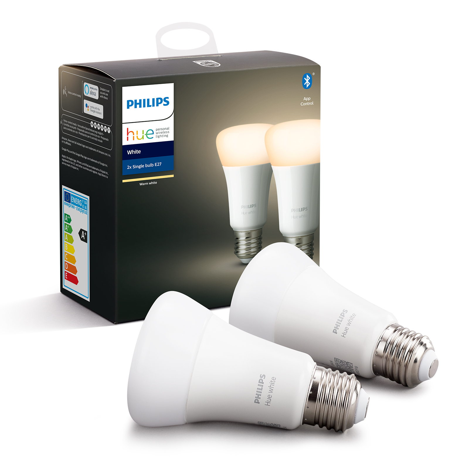 Philips Hue White 9 W E27 LED-Lampe, 2er-Set