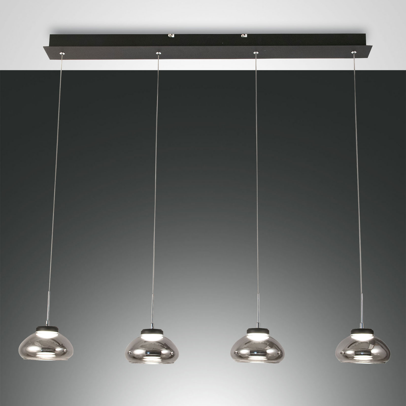 Hanglamp Arabella 4-lamps in rij, rookgrijs