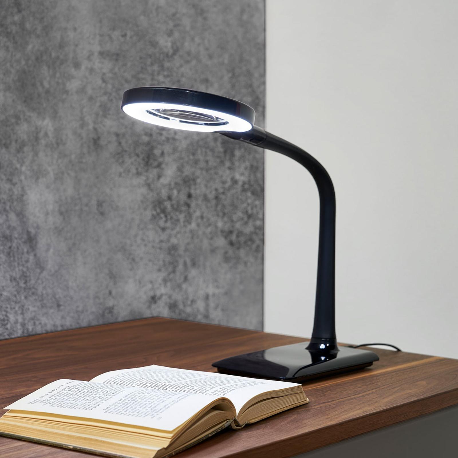Lampe à loupe LED Lupo en noir
