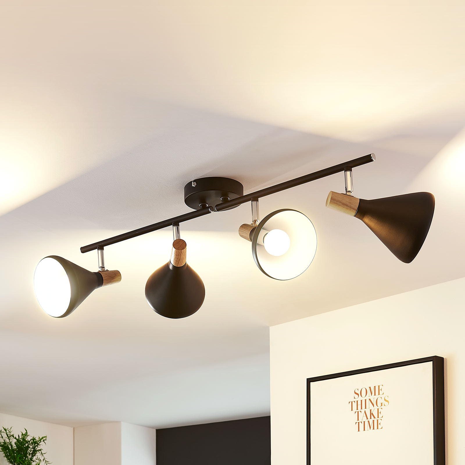Black LED ceiling spot Arina with wooden details_9621814_1