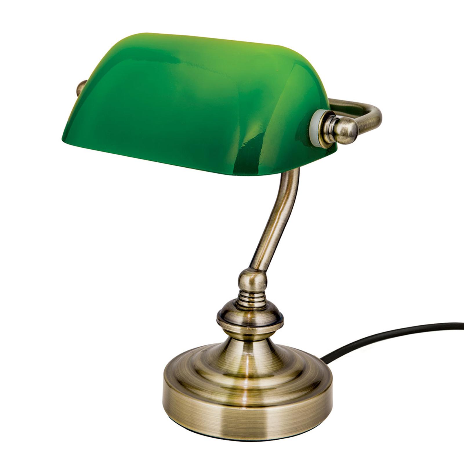 Zora-pankkiirivalaisin vihreällä lasivarjostimella