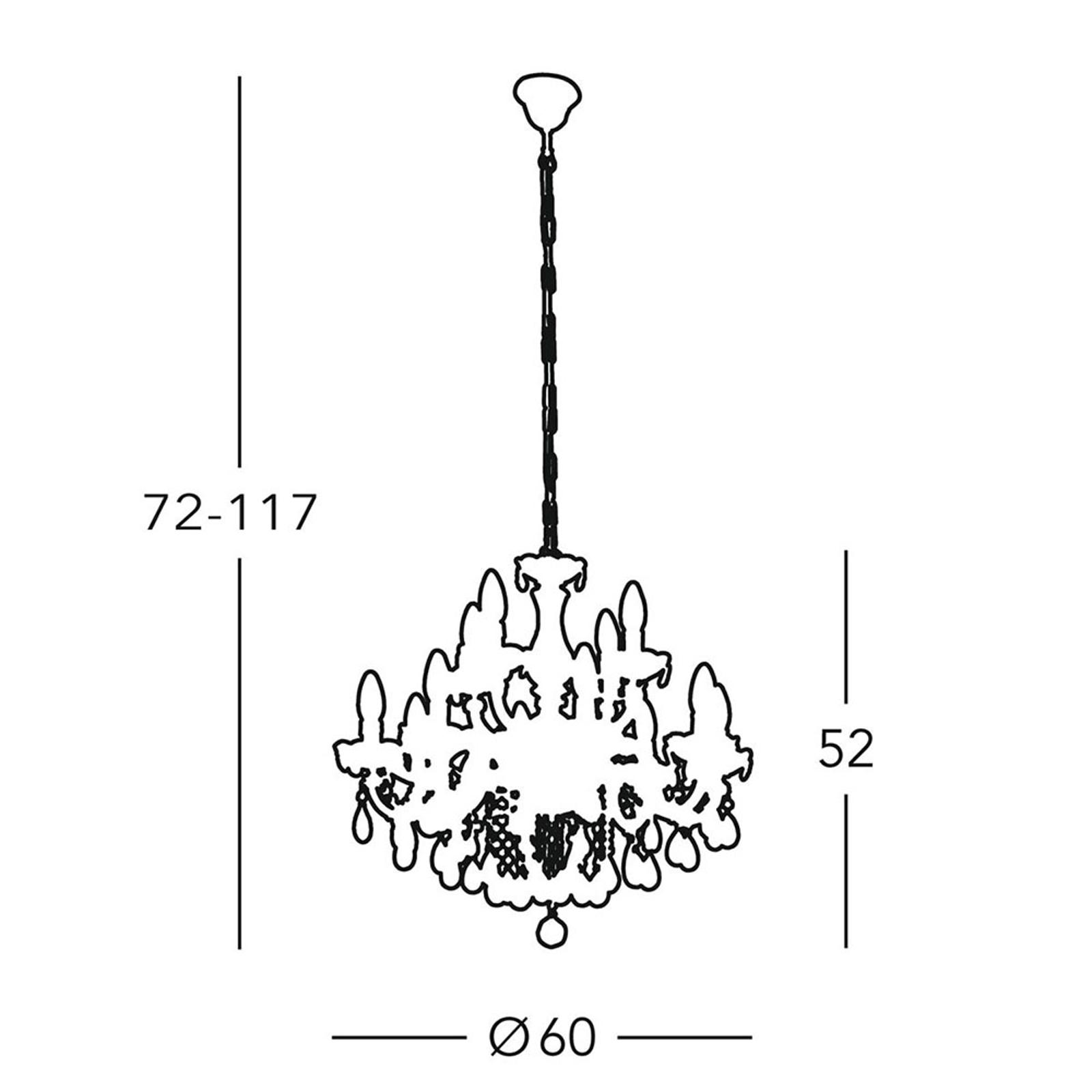 Kroonluchter Valerie, messing, 12-lamps