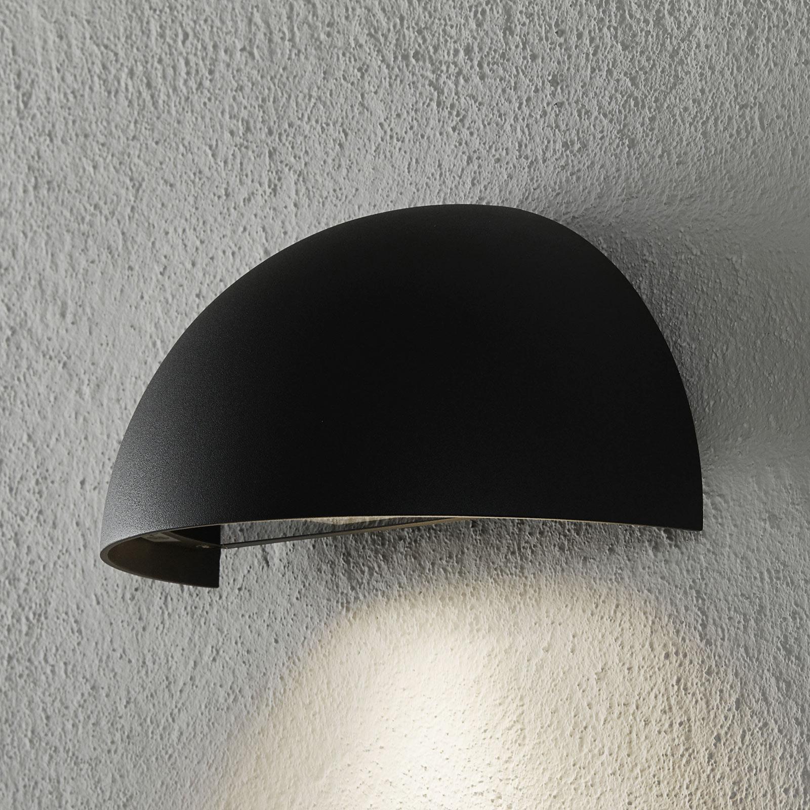 Zewnętrzna lampa ścienna Atina, półokrągła, szara