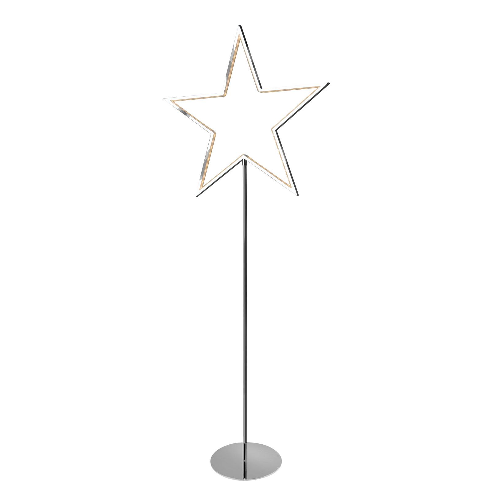 Lucy star decorative light, chrome, height 130 cm