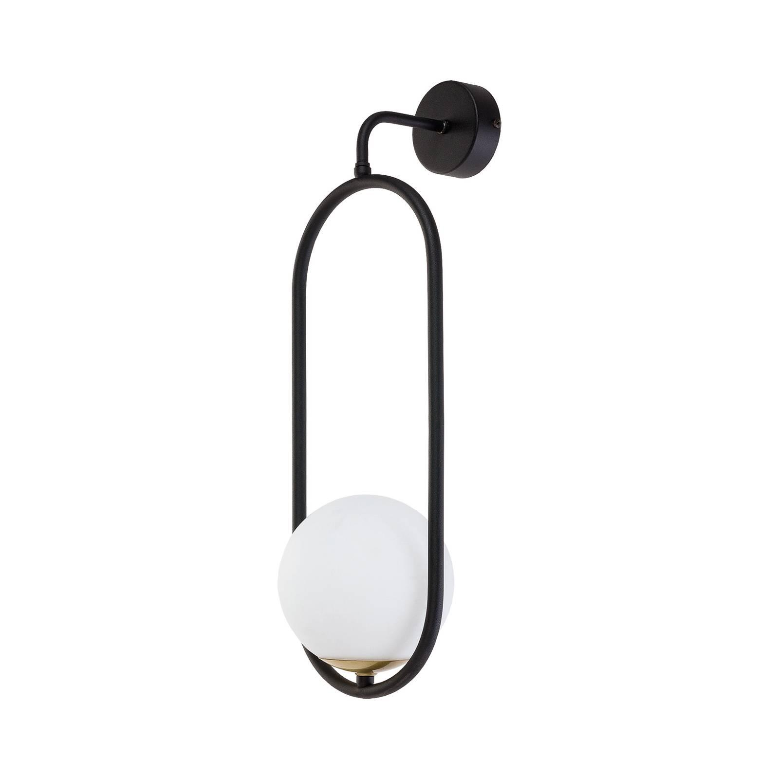 Applique Samba, vetro opale/nero 1 luce