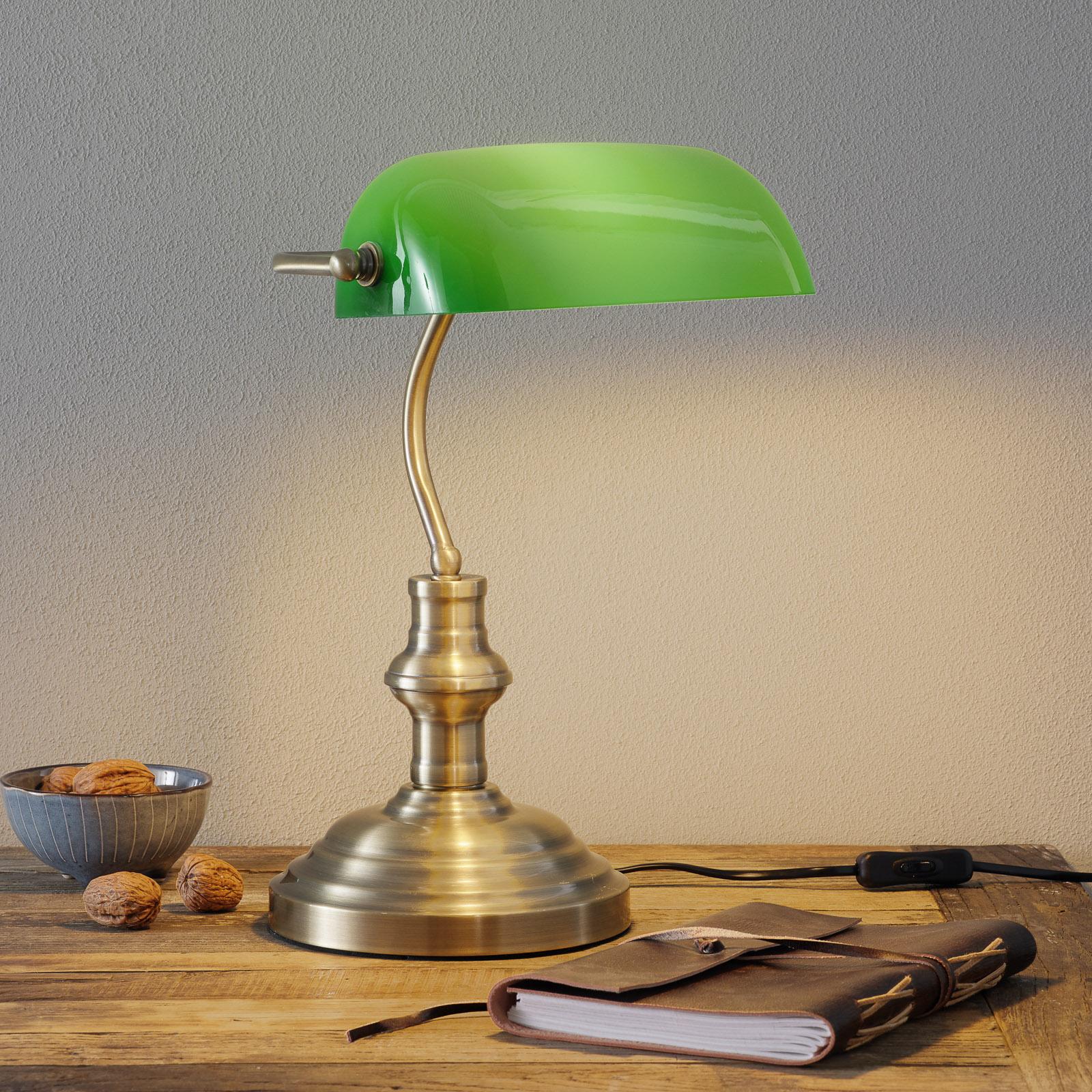 Klassieke tafellamp Bankers, 42 cm, groen