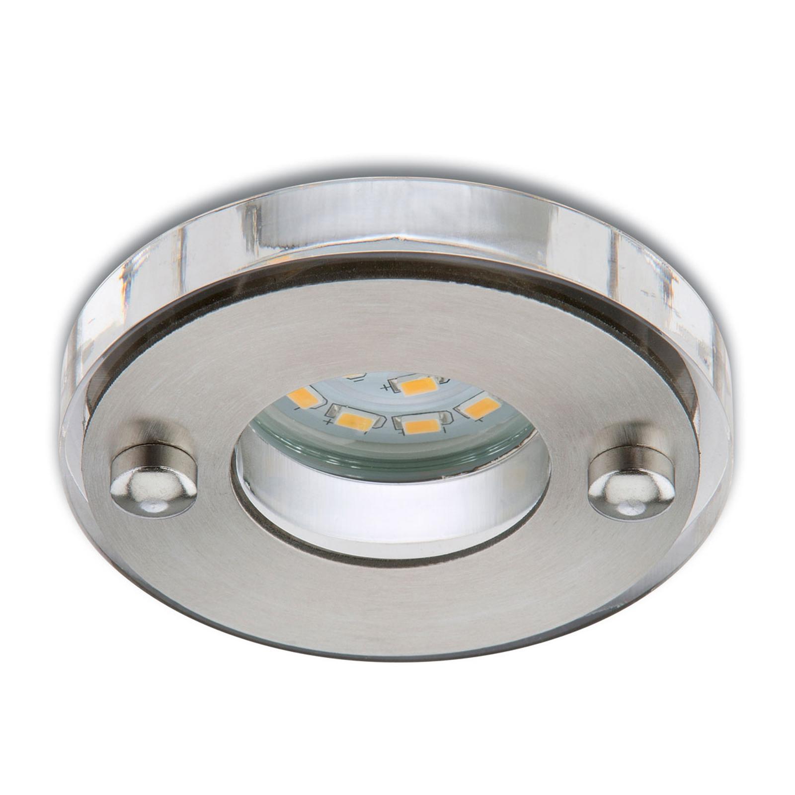 Nikas LED-indbygningsspot IP23, mat nikkel