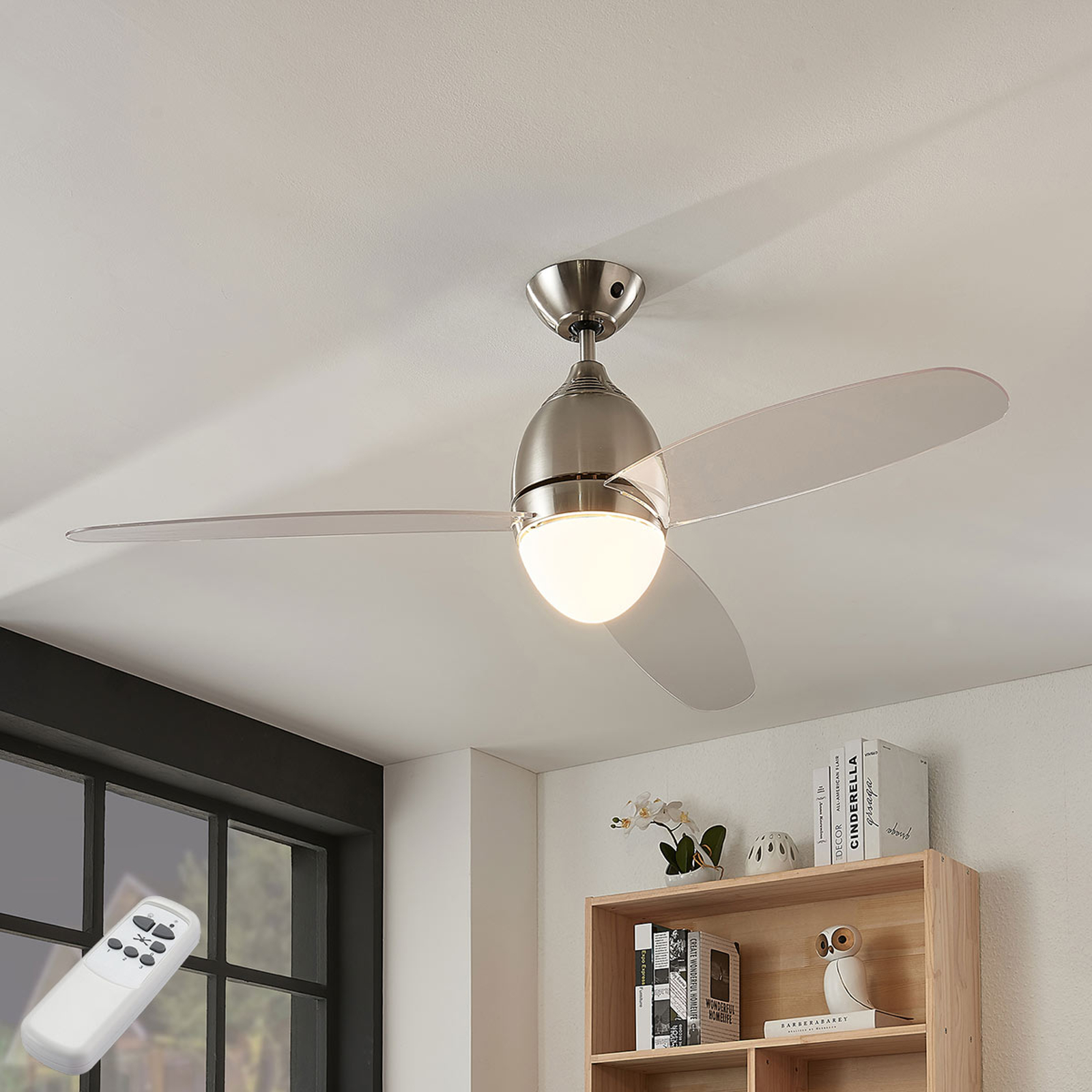 Stropní ventilátor Piara, osvětlení, čirý