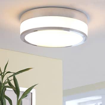 Lindby Flavi LED-badrumstaklampa, Ø 28 cm, krom