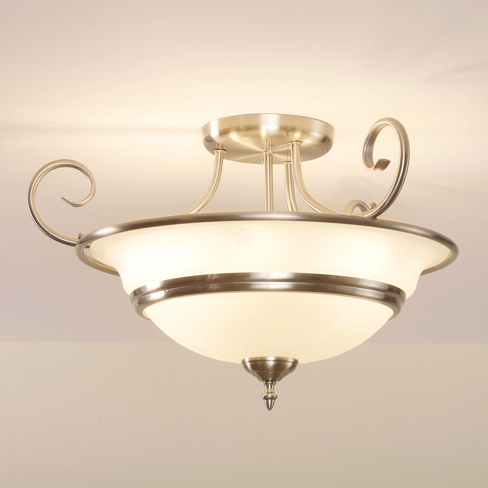 Plafondlamp Ursula uit glas, rond, mat nikkel