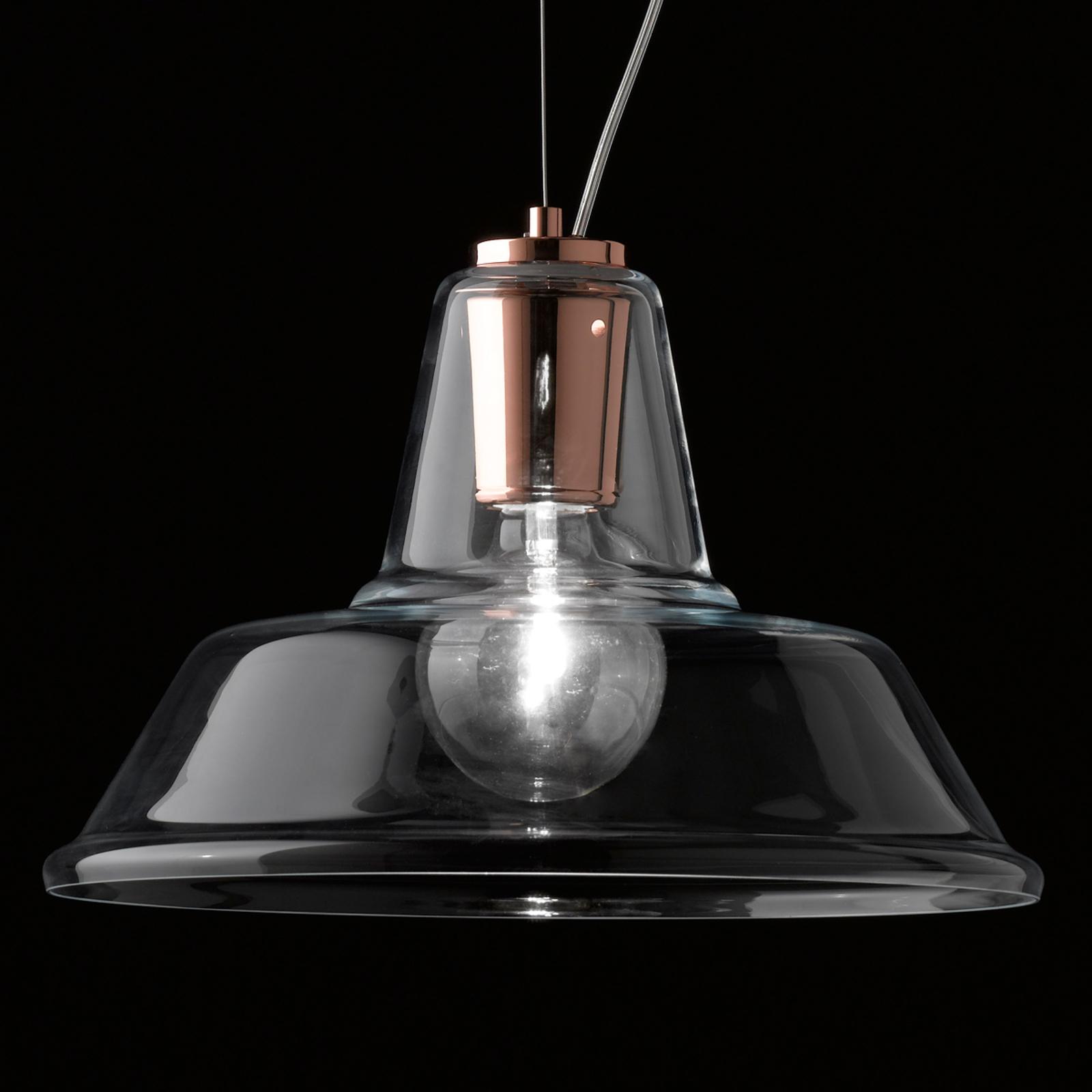 Glas-Pendelleuchte Lampara mit Element in Kupfer