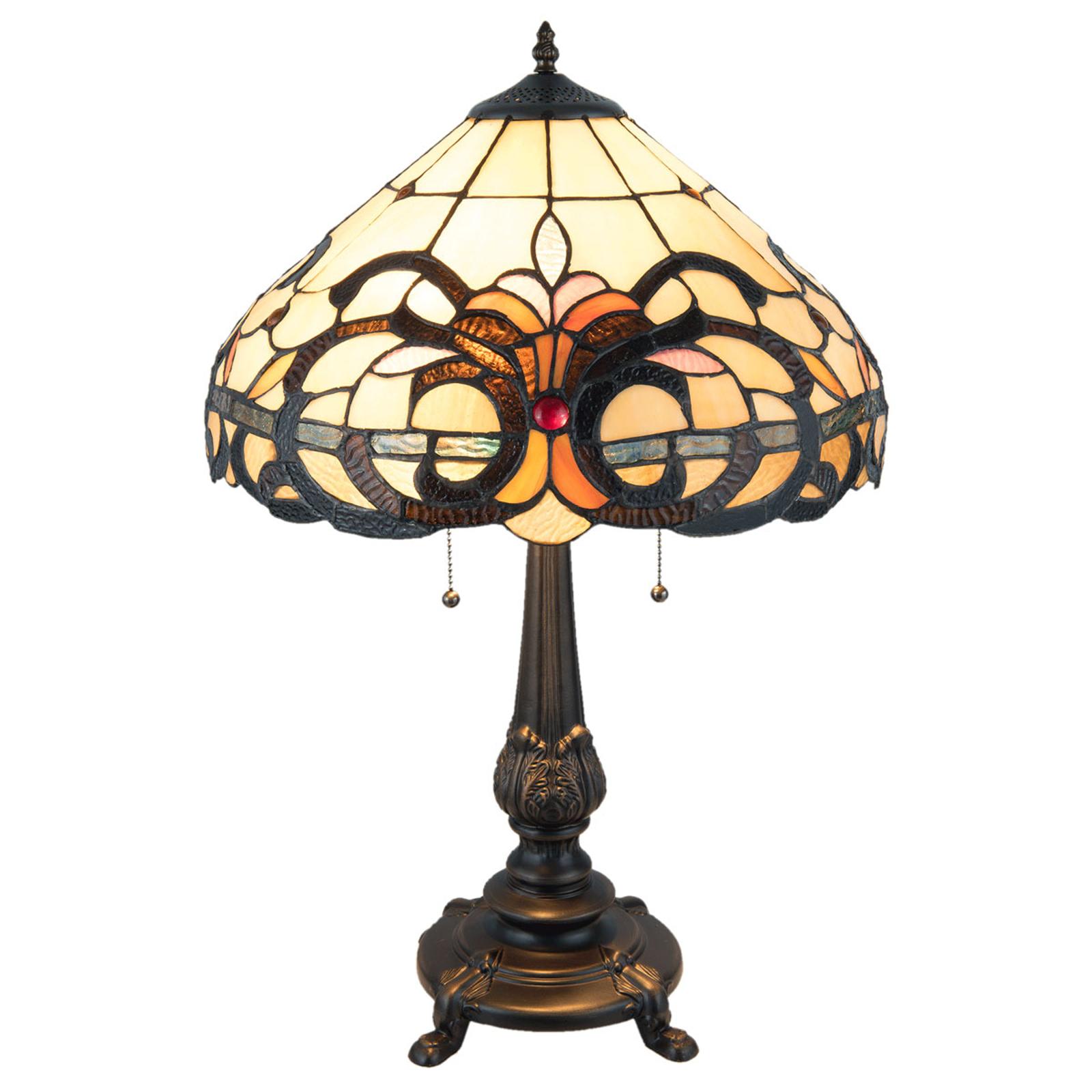 Tischleuchte 5924 mit Glasschirm im Tiffany-Stil