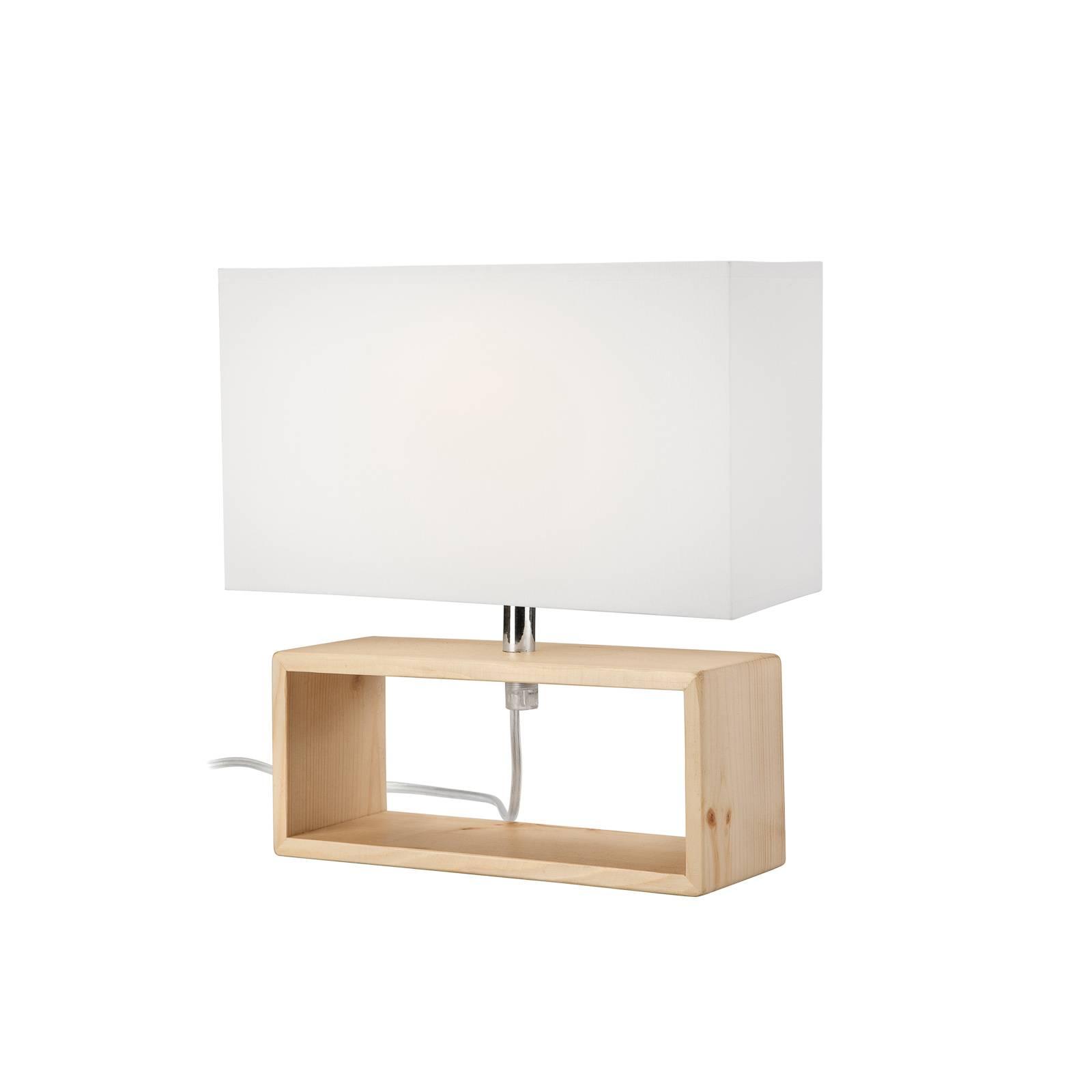 Lampe à poser Faxa, rectangulaire, naturel/blanc