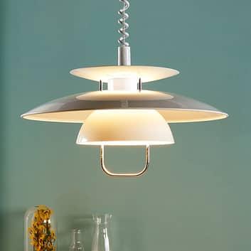 Hvid hængelampe Nadija til køkken, højdejusterbar
