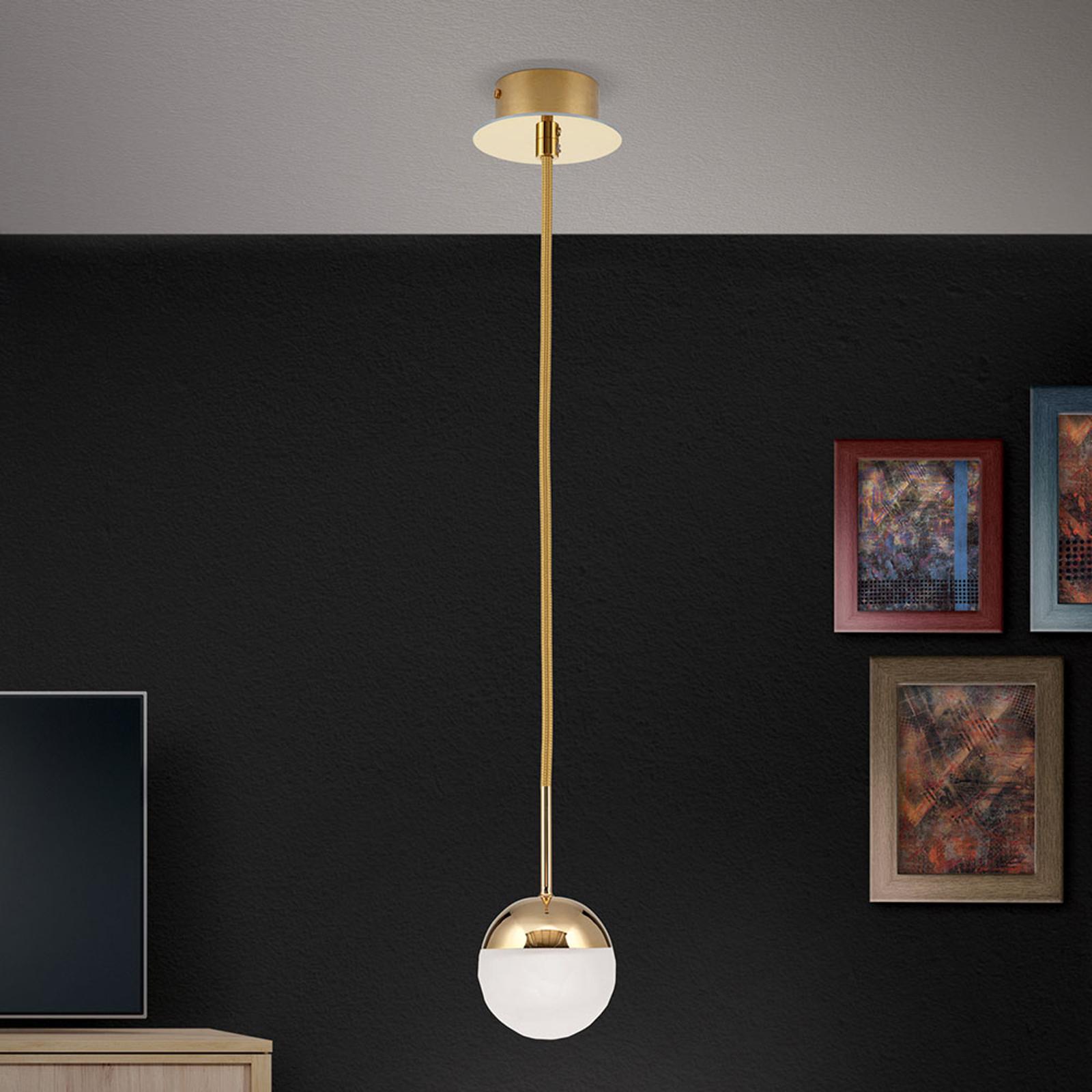 Lampa wisząca LED Ball, 1-punktowa, złota