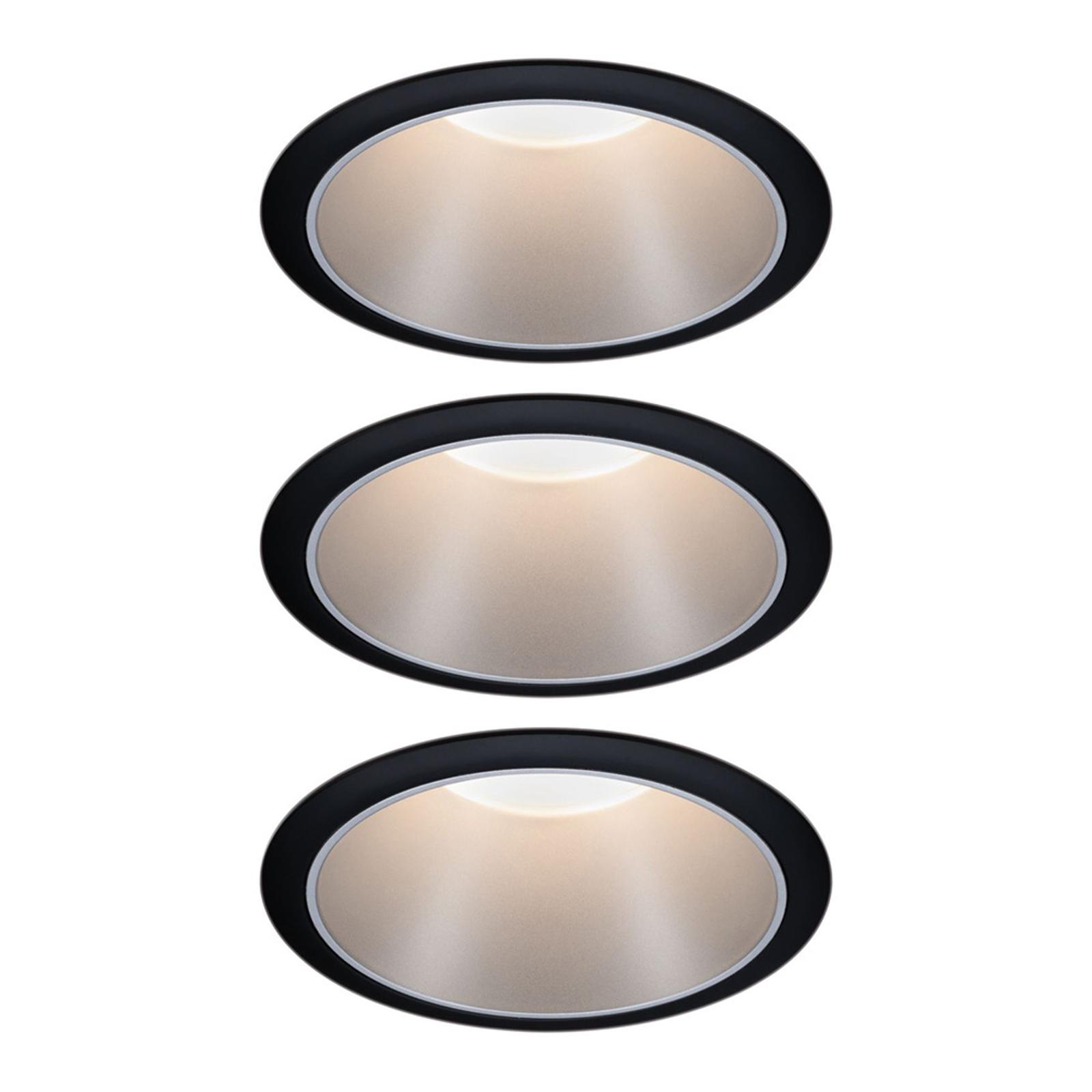 Paulmann Cole LED-spot, sølv-svart, 3-pakning