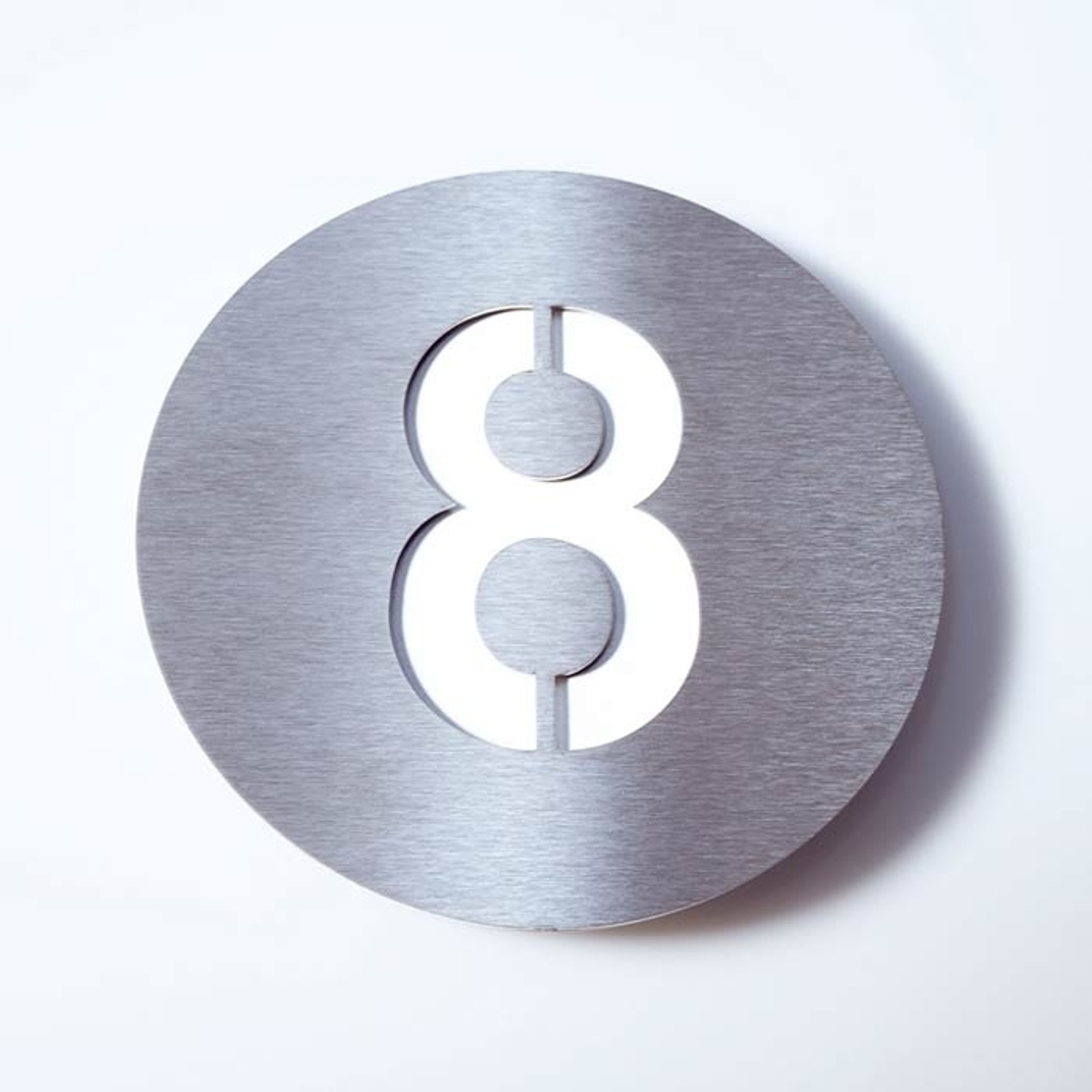 Número de casa Round de acero inoxidable - 8