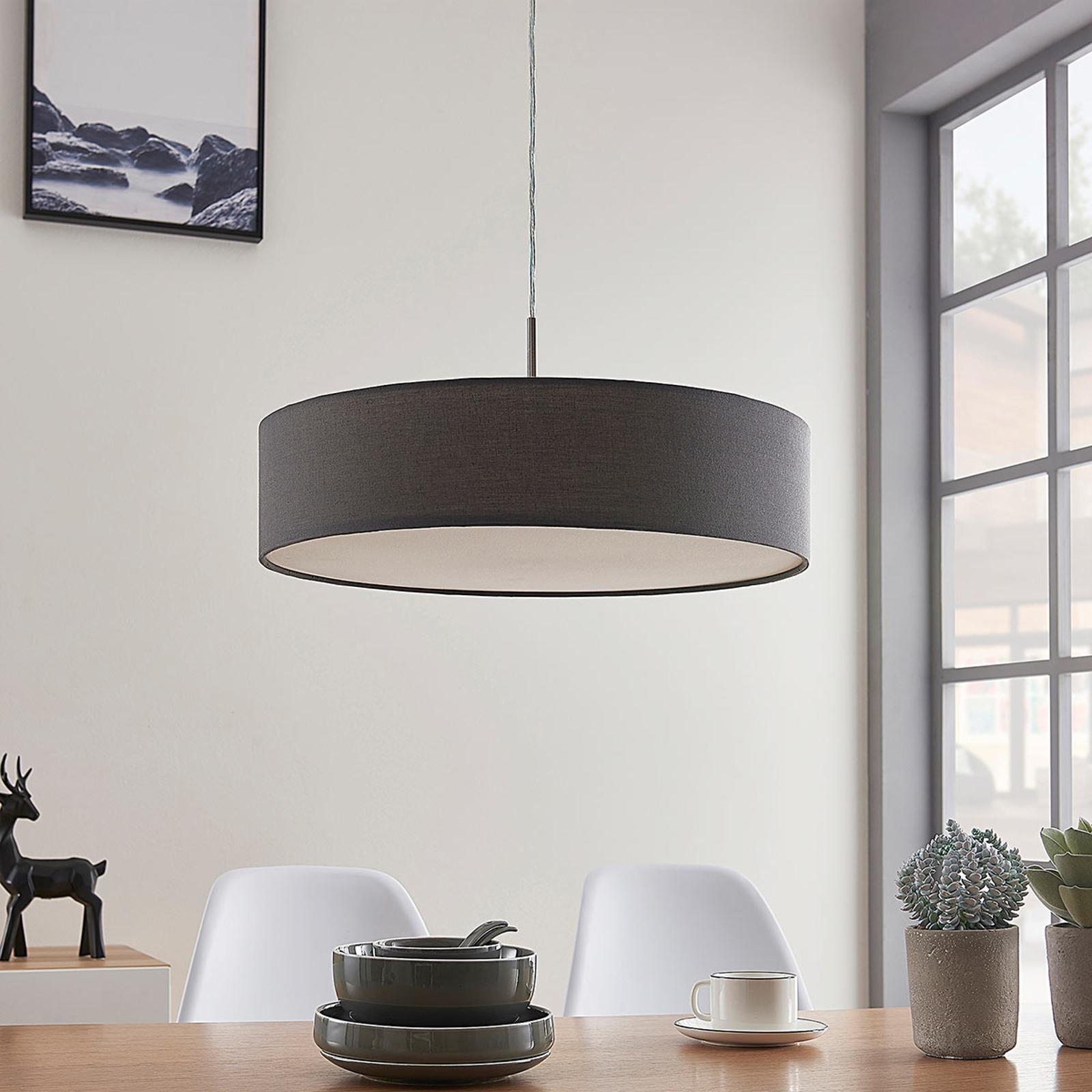 Závěsná lampa Sebatin, s LED 27, 50 cm, šedá