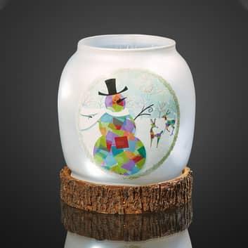 LED skleněná váza sněhulák, provoz na baterie