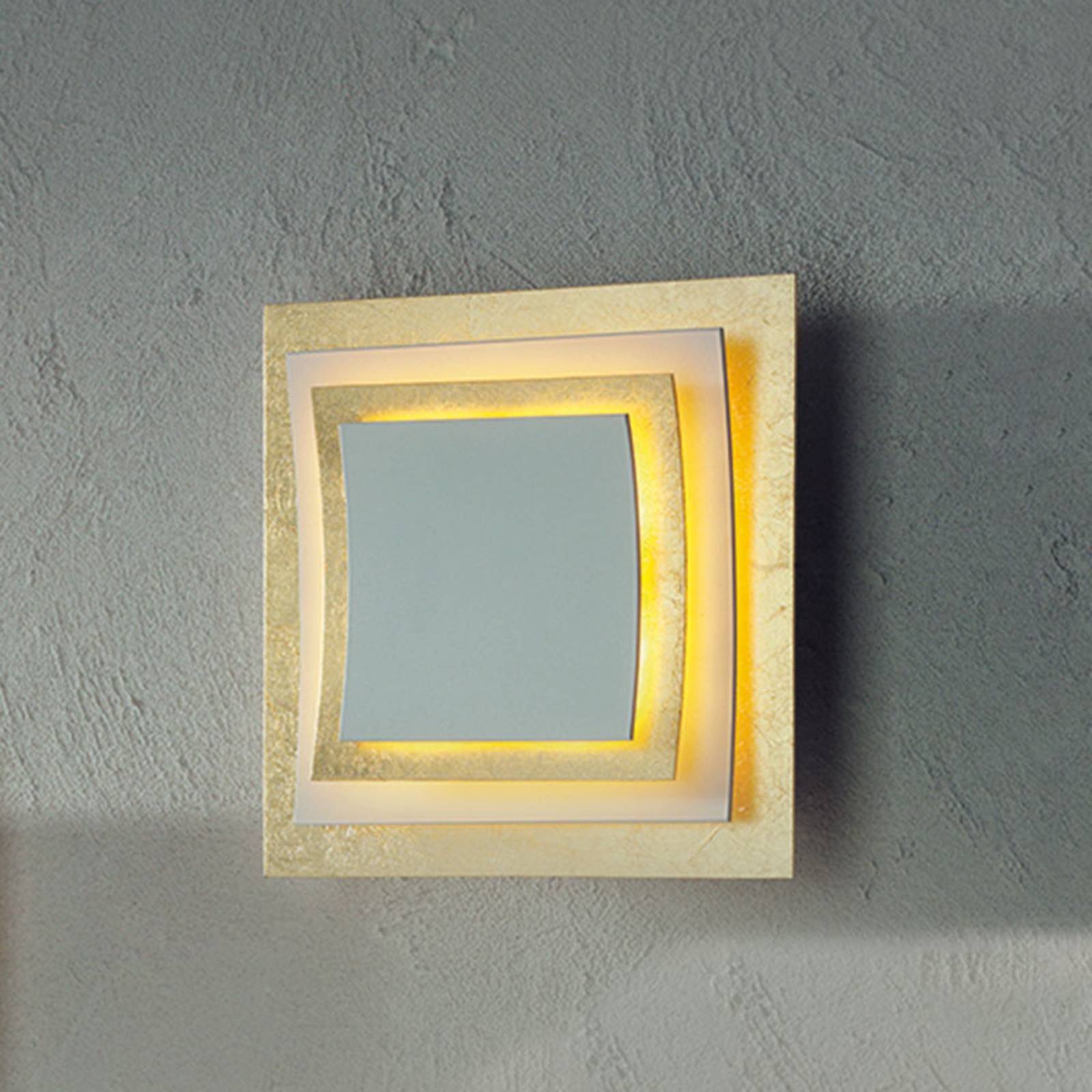 Wand- en plafondlamp Pages, bladgoud, 22 cm