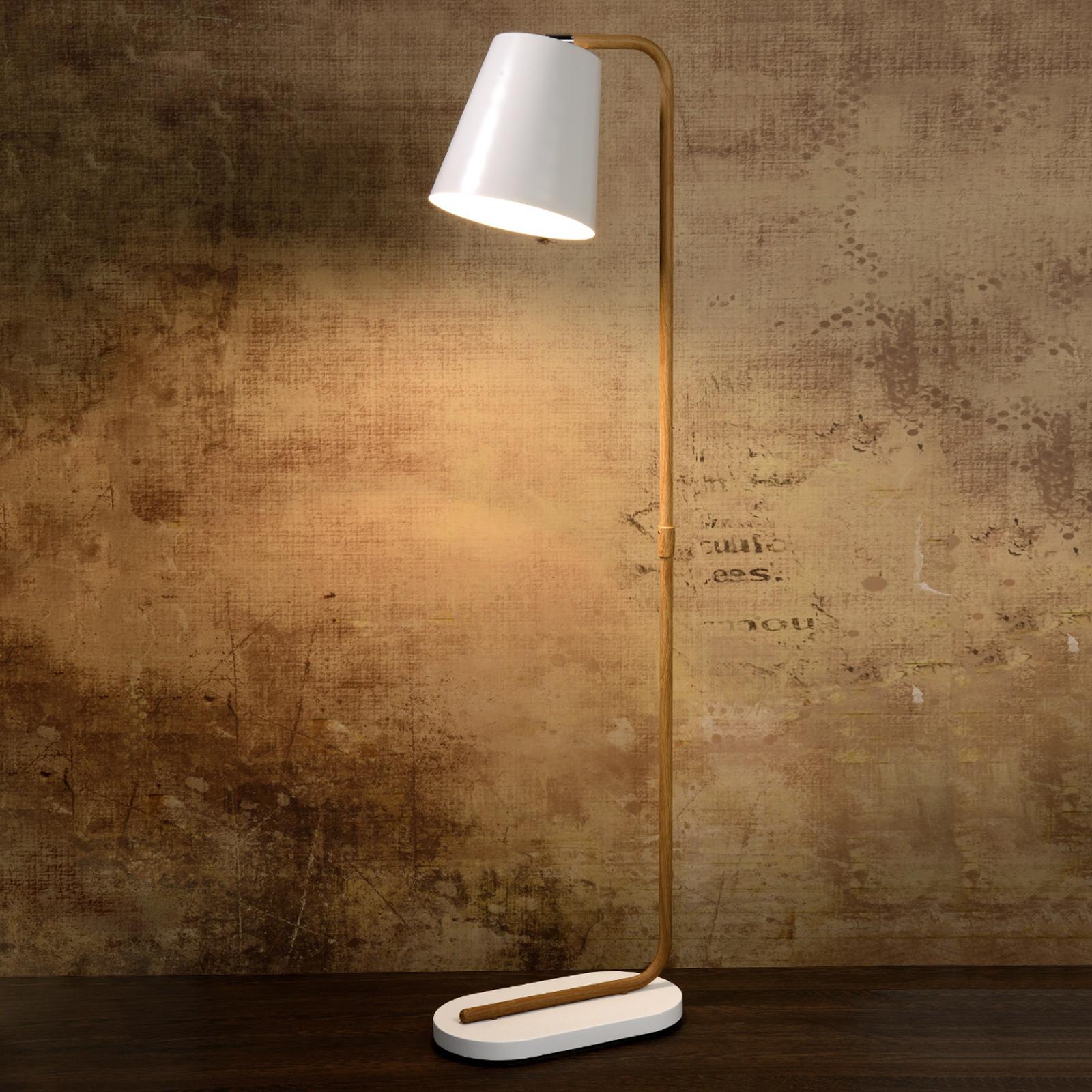 Vloerlamp Cona met wit metalen kap