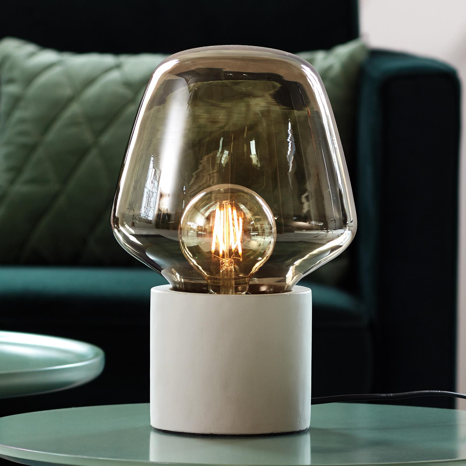 Christina bordlampe med røgglas, lysegrå fod