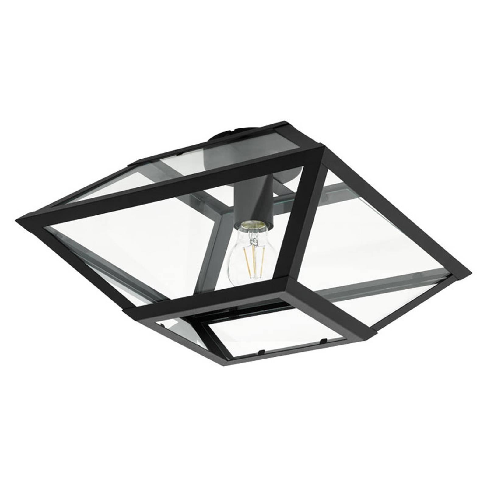 Plafondlamp Casefabre van staal, 37x37 cm